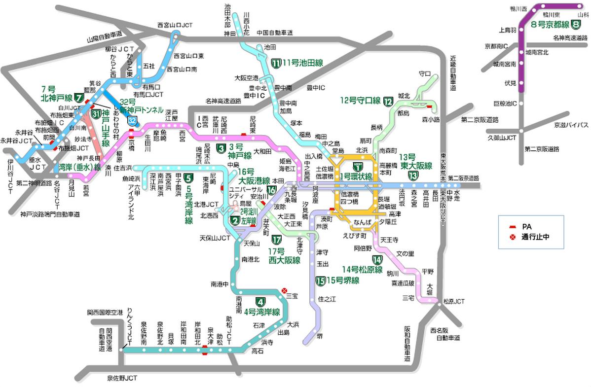 阪神高速道路地図