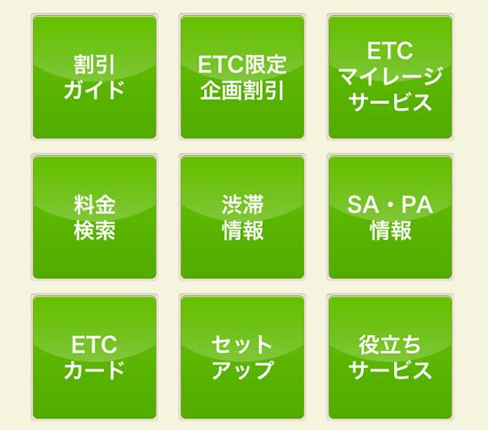 ETCスマホサイトメニュー